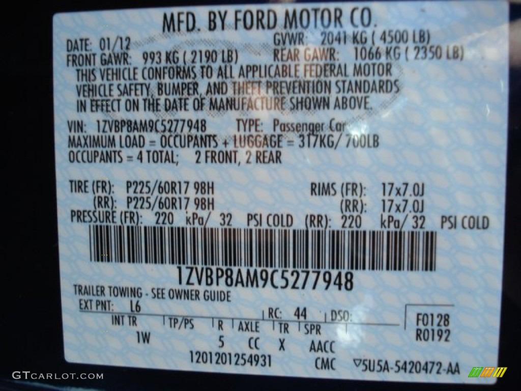 2012 Mustang Color Code L6 For Kona Blue Metallic Photo