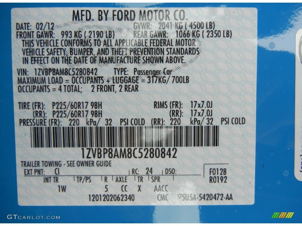 Exterior Paint Code  Ford Mustang Gt