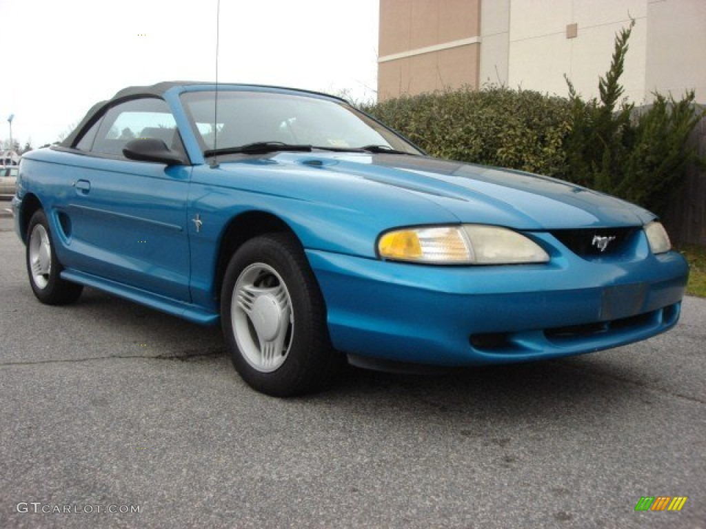 1994 teal metallic ford mustang v6 convertible 61344228. Black Bedroom Furniture Sets. Home Design Ideas