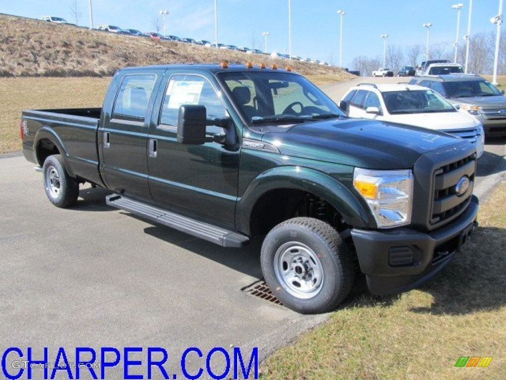 2012 F250 Super Duty XL Crew Cab 4x4 - Forest Green Metallic / Steel photo #1