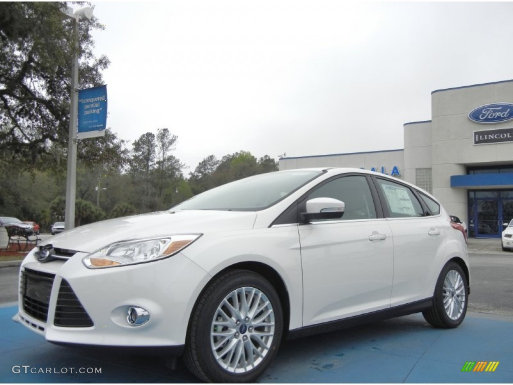 2012 Focus SEL 5-Door - White Platinum Tricoat Metallic / Stone photo #1