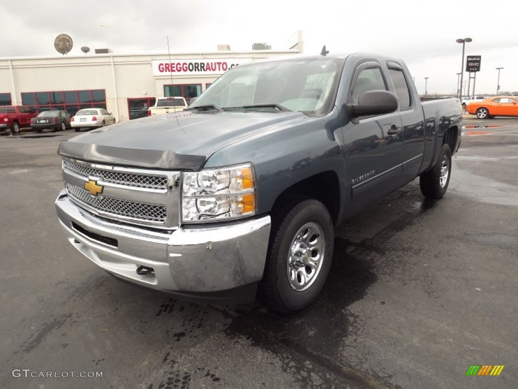 2012 Silverado 1500 LS Extended Cab 4x4 - Blue Granite Metallic / Dark Titanium photo #1