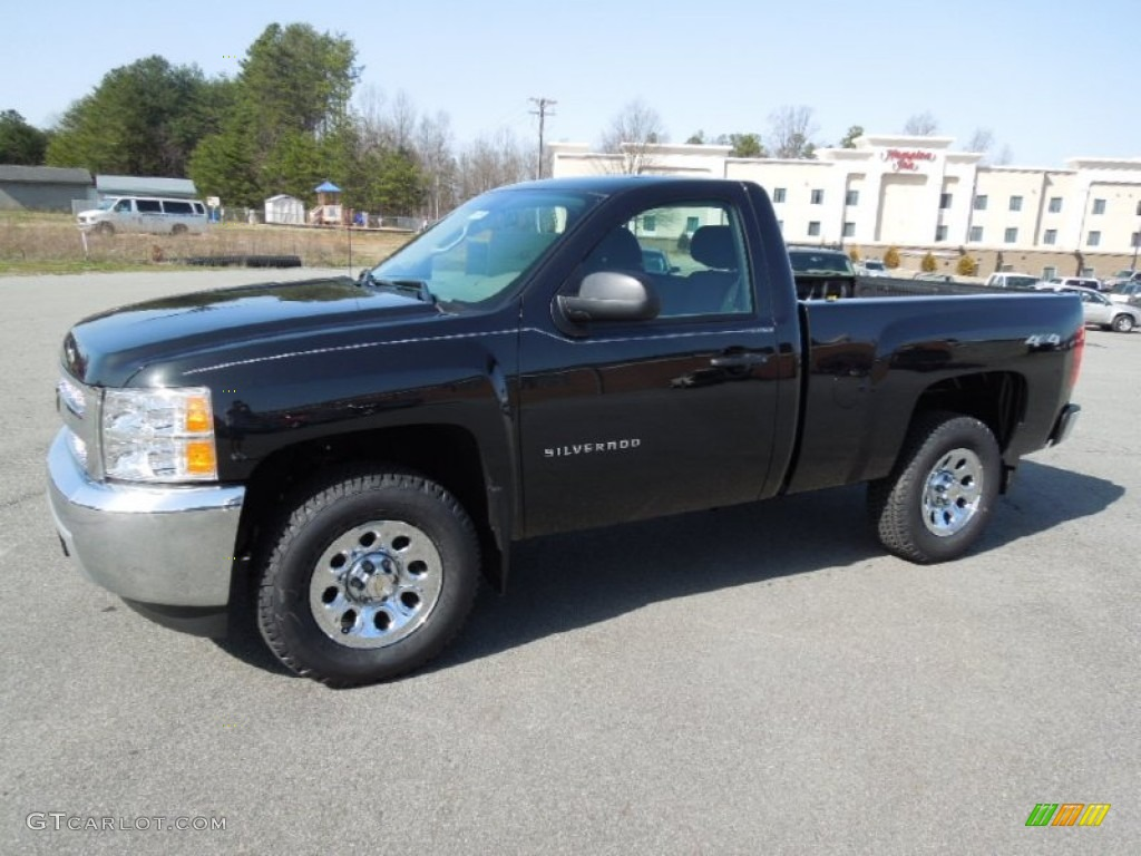 2012 Silverado 1500 Work Truck Regular Cab 4x4 - Black Granite Metallic / Dark Titanium photo #1