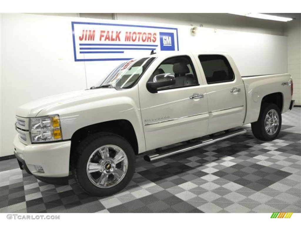 2012 Silverado 1500 LTZ Crew Cab 4x4 - White Diamond Tricoat / Light Titanium/Dark Titanium photo #1