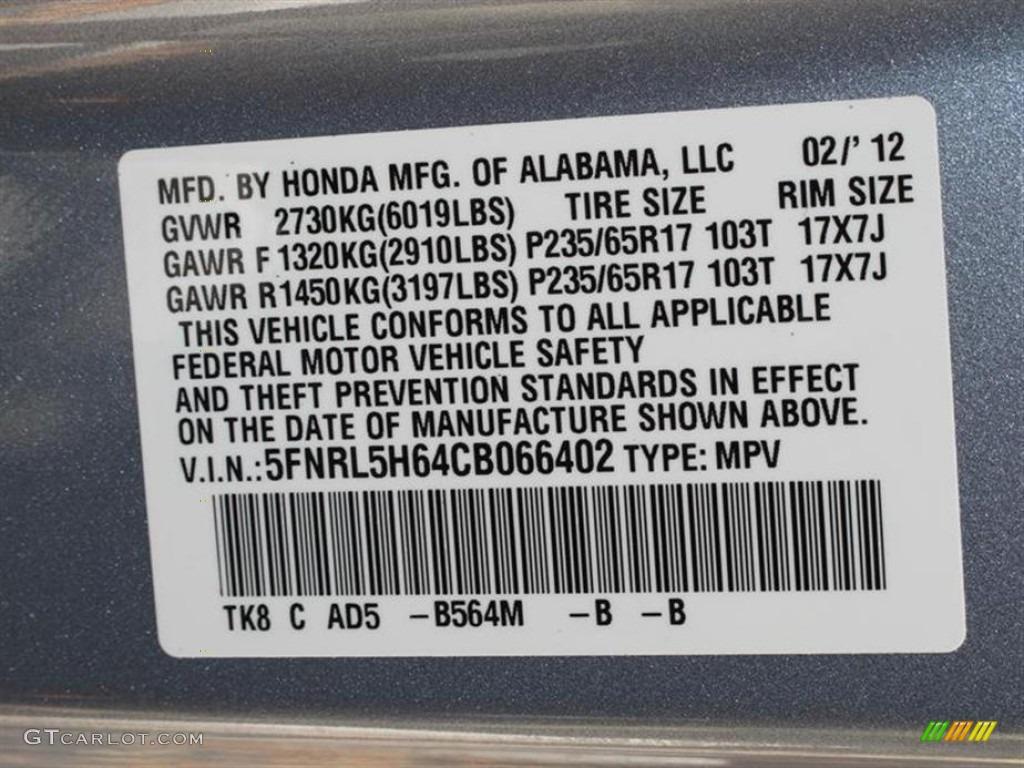 2012 odyssey color code b564m for celestial blue metallic for Honda odyssey service codes