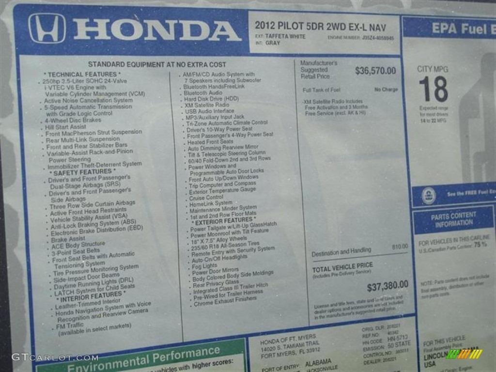 2012 Honda Pilot Ex L Window Sticker Photo 61789655 Gtcarlot Com