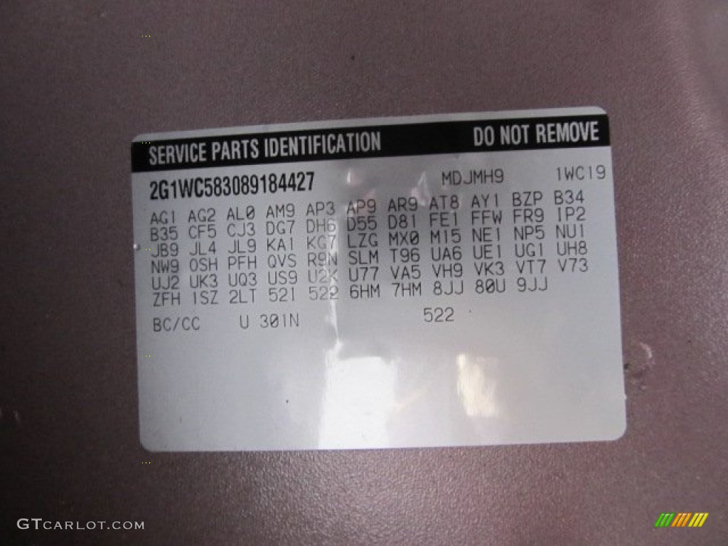 2008 Impala Color Code 301n For Red Jewel Tintcoat Photo 61796921