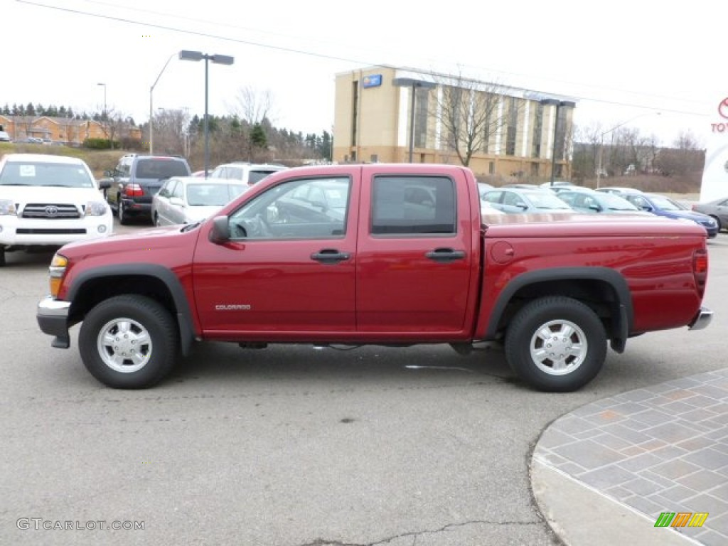 Dark cherry red metallic 2005 chevrolet colorado ls crew cab 4x4 exterior photo 61808996