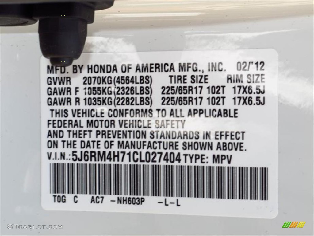 2012 CR-V Color Code NH603P for White Diamond Pearl Photo #61846668