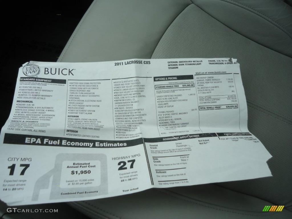 2011 Buick Lacrosse Cxs Window Sticker Photo 61900386