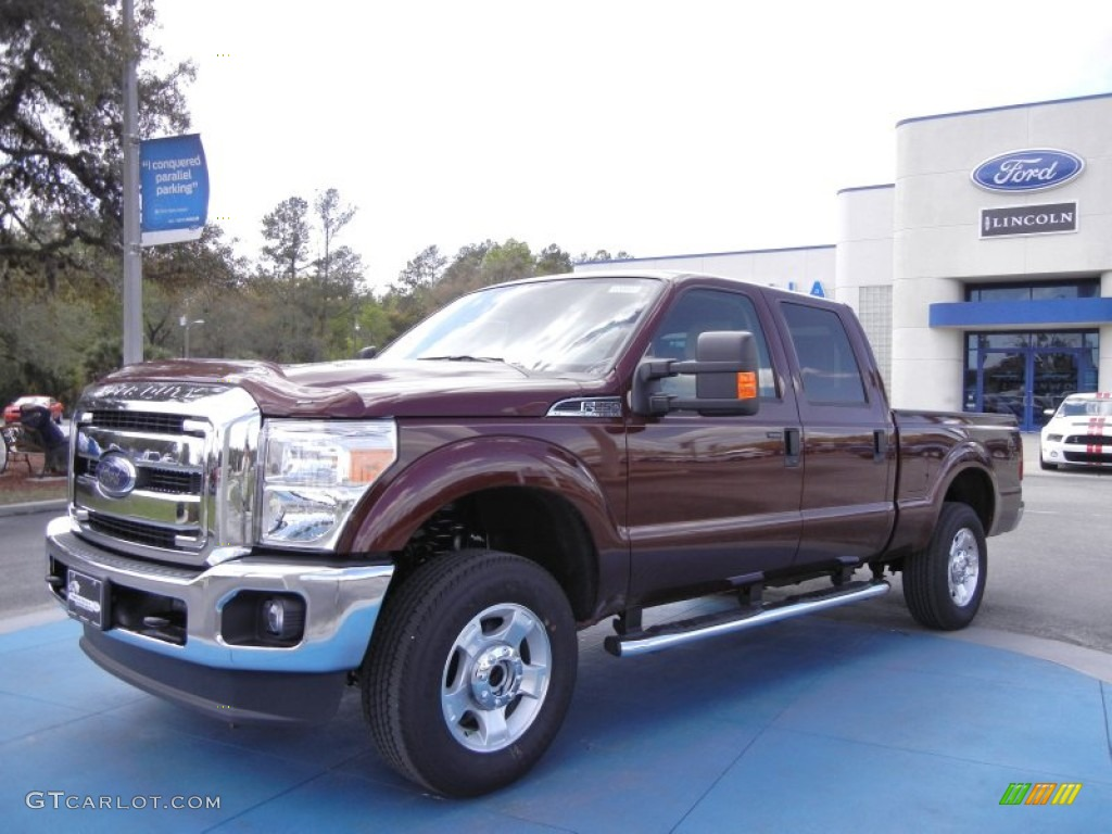 2012 F250 Super Duty XLT Crew Cab 4x4 - Autumn Red Metallic / Adobe photo #1