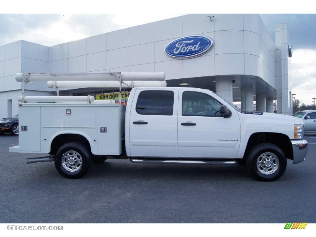 2008 summit white chevrolet silverado 2500hd work truck crew cab 61966501 car. Black Bedroom Furniture Sets. Home Design Ideas