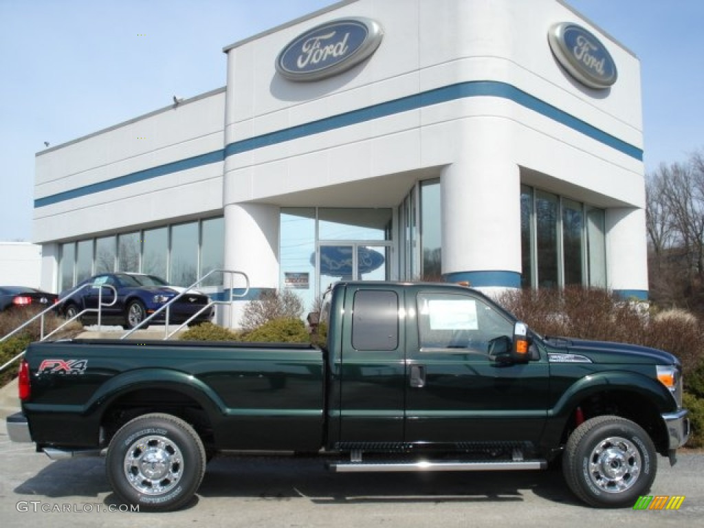 2012 F250 Super Duty XLT SuperCab 4x4 - Green Gem Metallic / Steel photo #1