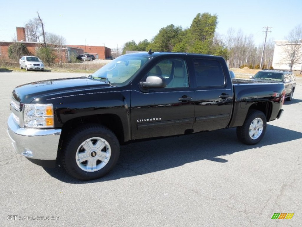 2012 Silverado 1500 LT Crew Cab 4x4 - Black / Light Cashmere/Dark Cashmere photo #1