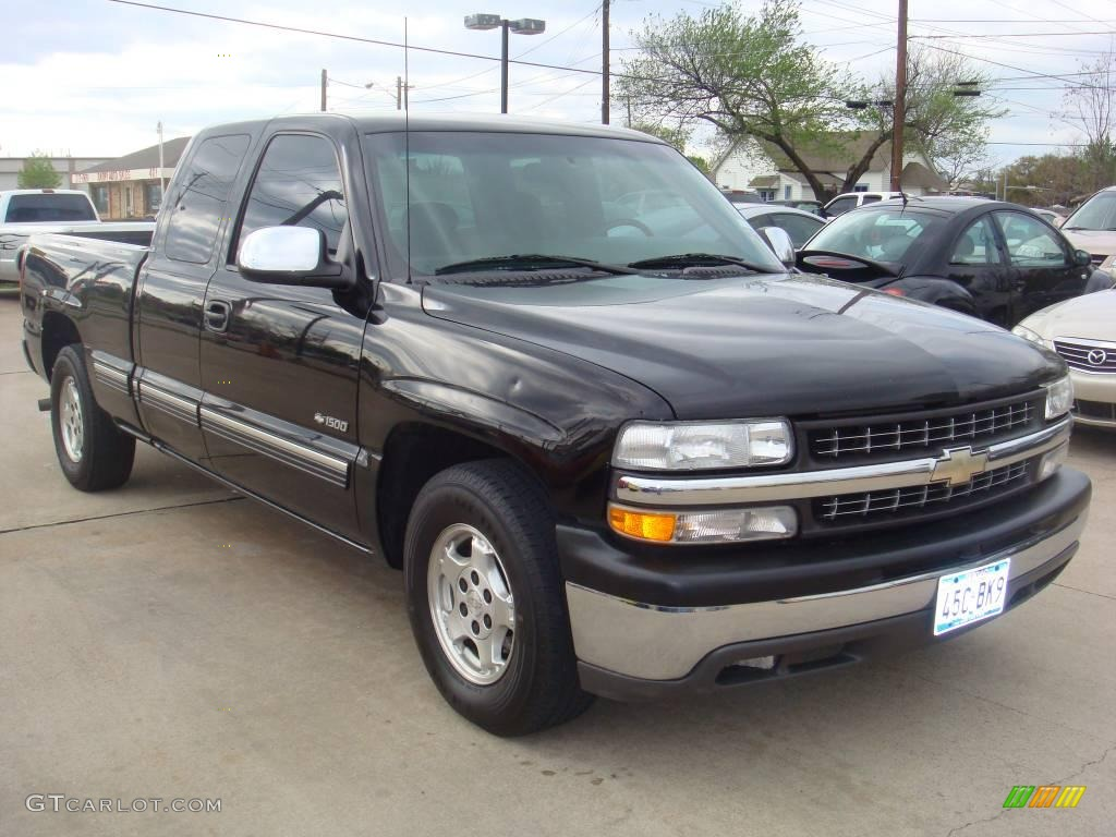 2000 Silverado 1500 LS Extended Cab - Onyx Black / Medium Gray photo #1