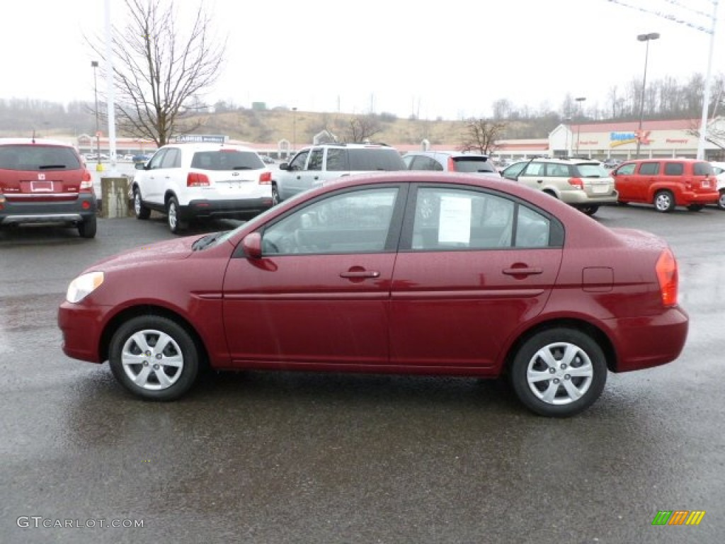 wine red 2010 hyundai accent gls 4 door exterior photo 62067834. Black Bedroom Furniture Sets. Home Design Ideas