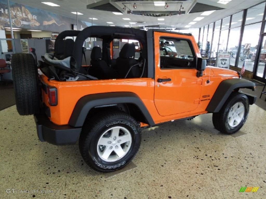 Crush Orange 2012 Jeep Wrangler Sport S 4x4 Exterior Photo