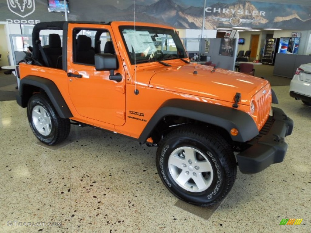 Crush Orange 2012 Jeep Wrangler Sport S 4x4 Exterior Photo