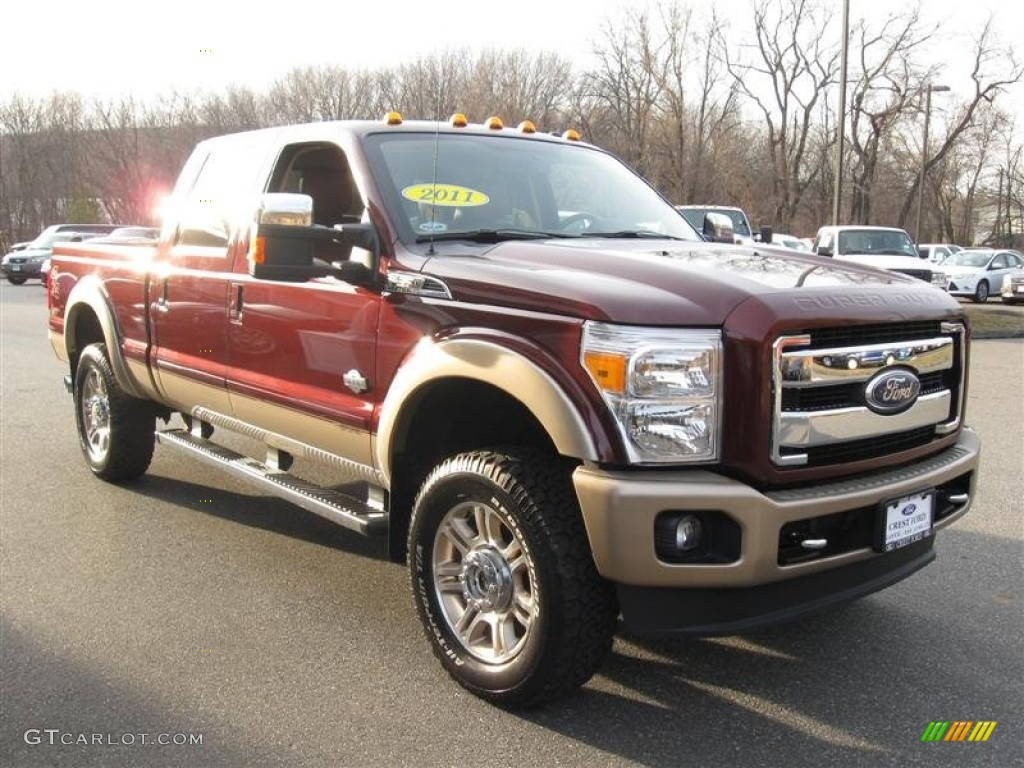 2011 royal red metallic ford f350 super duty king ranch crew cab 4x4 62194718 photo 4. Black Bedroom Furniture Sets. Home Design Ideas