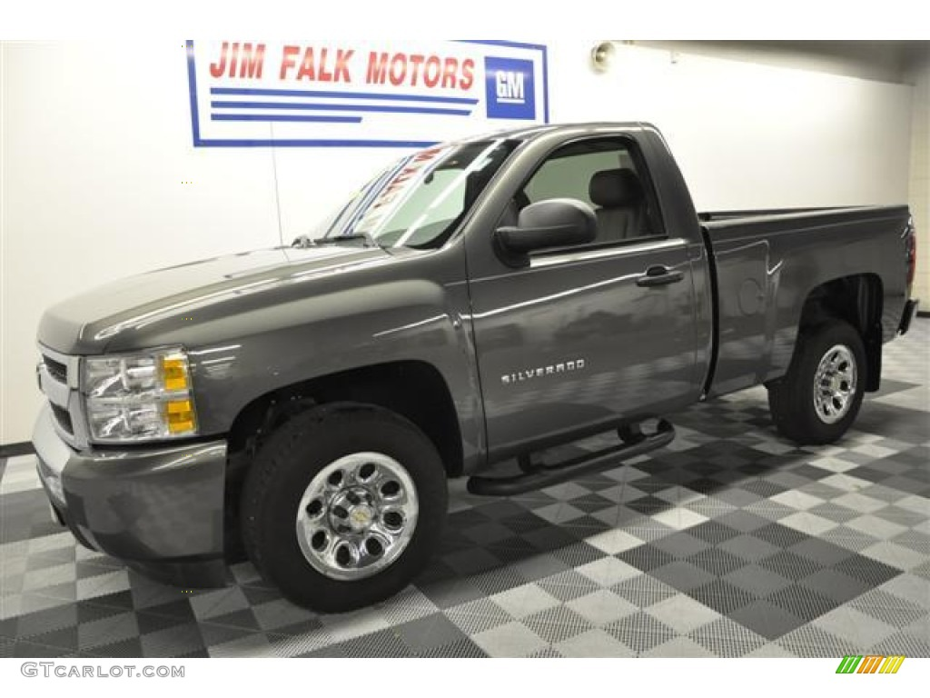 2011 Silverado 1500 LS Regular Cab - Steel Green Metallic / Dark Titanium photo #1
