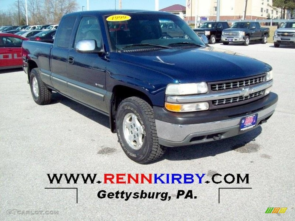 1999 Silverado 1500 LS Extended Cab 4x4 - Indigo Blue Metallic / Graphite photo #1