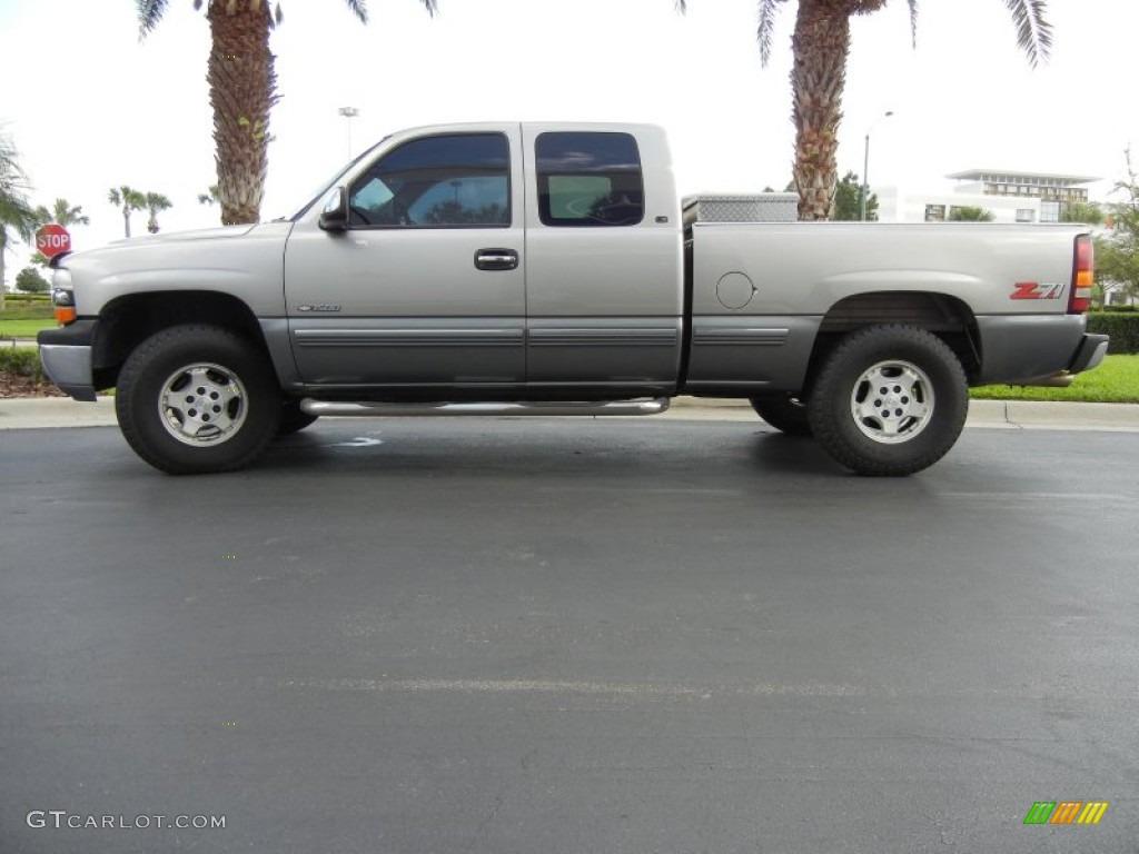 2000 Silverado 1500 LS Extended Cab 4x4 - Light Pewter Metallic / Medium Gray photo #1