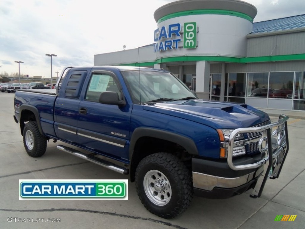 2003 Silverado 2500HD LS Extended Cab 4x4 - Arrival Blue Metallic / Dark Charcoal photo #1