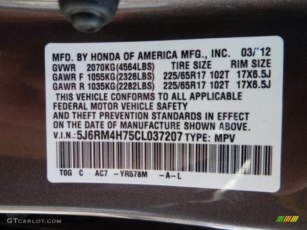 2012 CR-V Color Code YR578M for Urban Titanium Metallic Photo #62479522