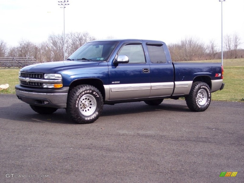 1999 Silverado 1500 LS Z71 Extended Cab 4x4 - Indigo Blue Metallic / Graphite photo #1