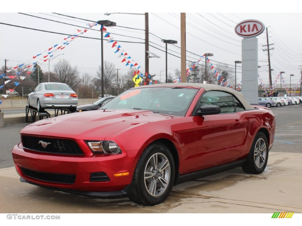 2011 Mustang V6 Premium Convertible - Red Candy Metallic / Stone photo #1