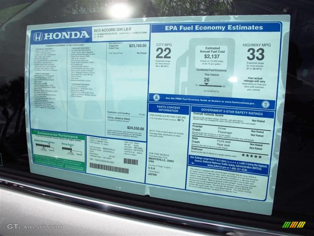 2012 Honda Accord LX-S Coupe Window Sticker Photo #62625043 | GTCarLot ...
