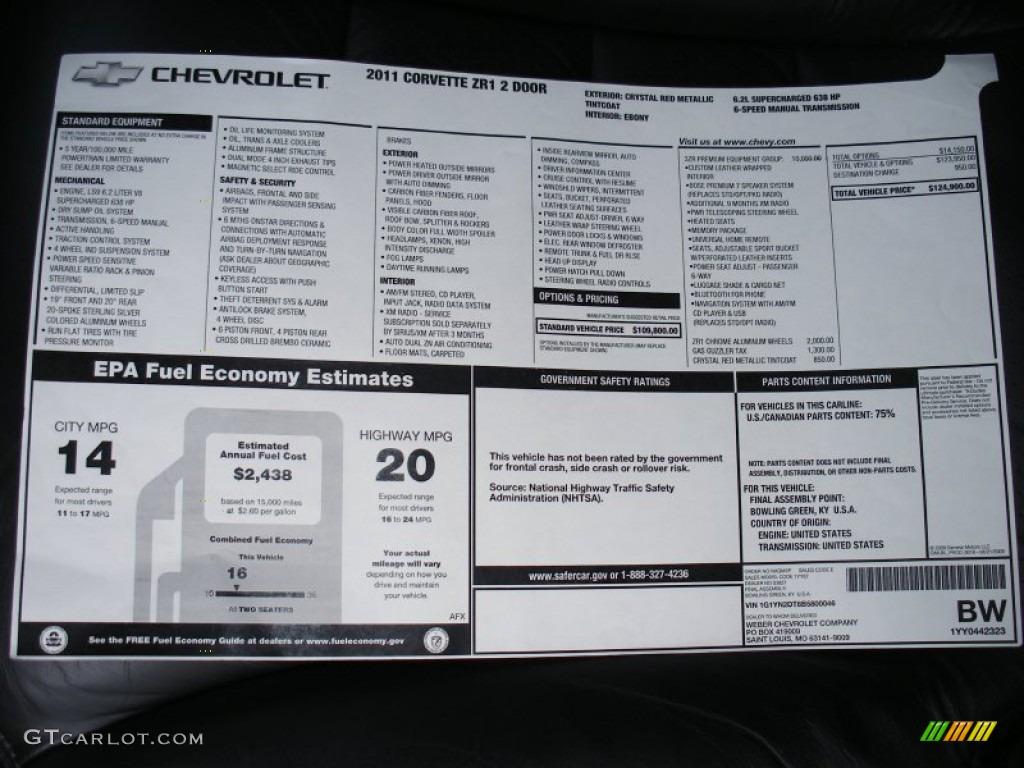 2011 Chevrolet Corvette ZR1 Window Sticker Photo 62684933