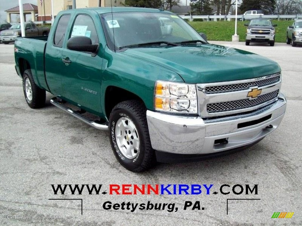 2012 Silverado 1500 LT Extended Cab 4x4 - Fleet Green / Ebony photo #1