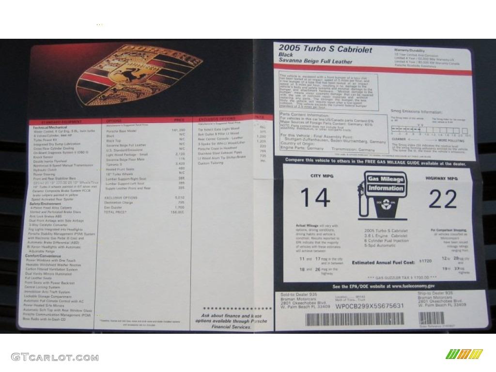 2005 Porsche 911 Turbo S Cabriolet Window Sticker Photo