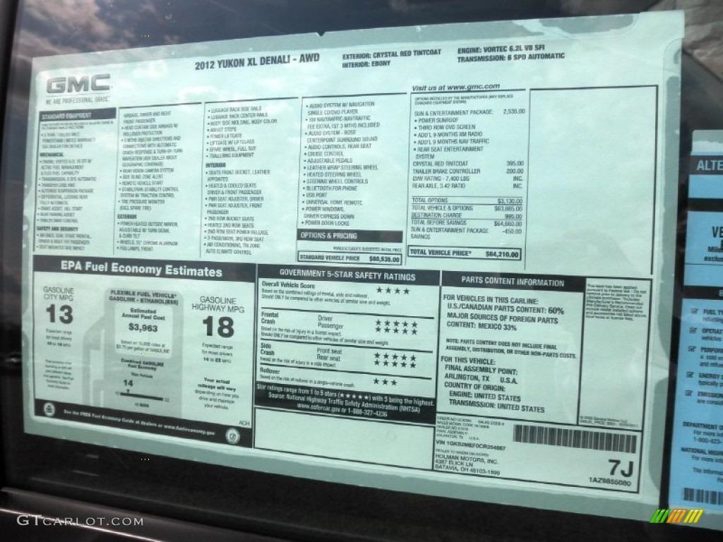 2012 Gmc Yukon Xl Denali Awd Window Sticker Photo  62726302