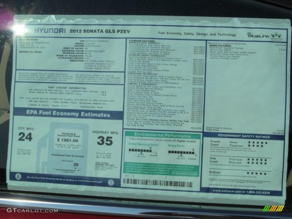 2012 Hyundai Sonata Gls Window Sticker Photos Gtcarlot Com