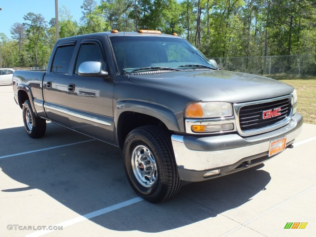 2001 storm gray metallic gmc sierra 1500 sle crew cab 4x4 62758334 car color. Black Bedroom Furniture Sets. Home Design Ideas