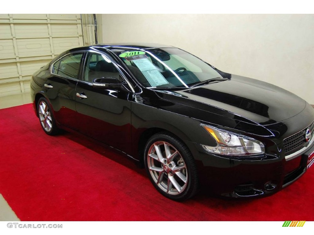2011 super black nissan maxima 3 5 sv sport 62757440 car color galleries. Black Bedroom Furniture Sets. Home Design Ideas