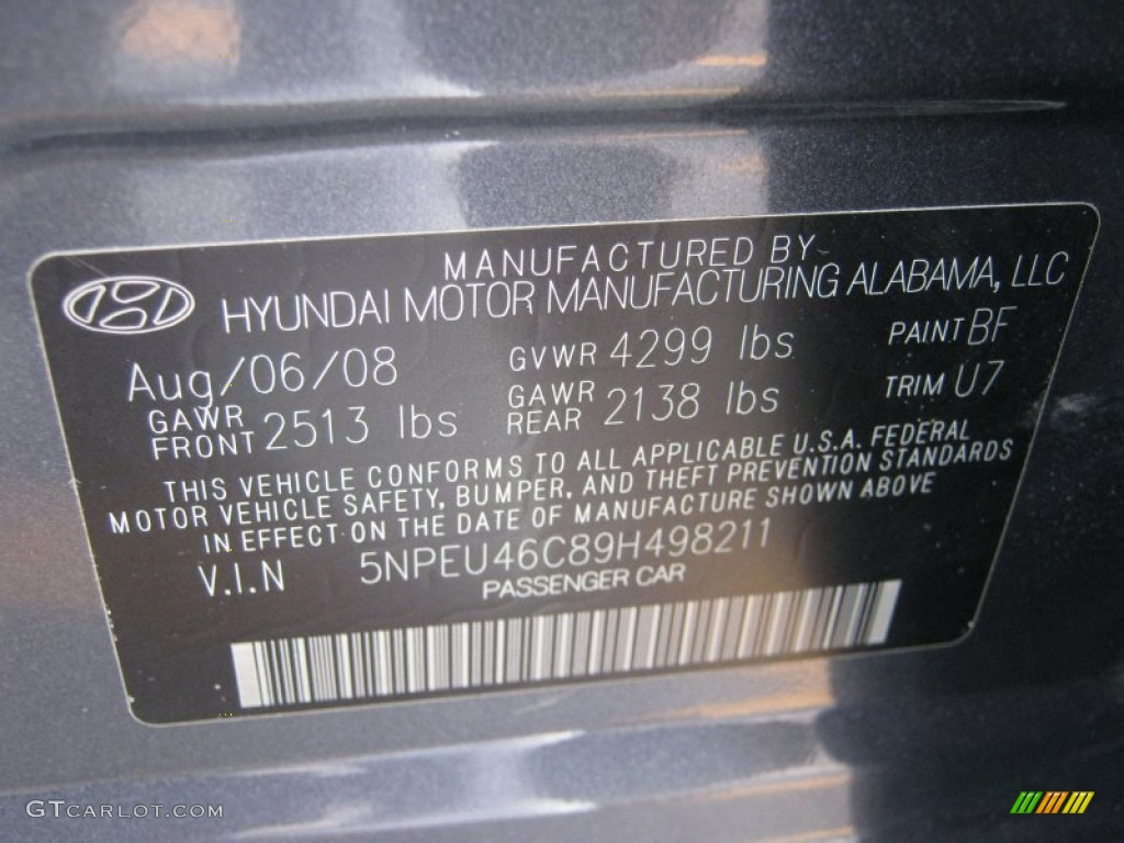 Hyundai Sonqta Paint Code