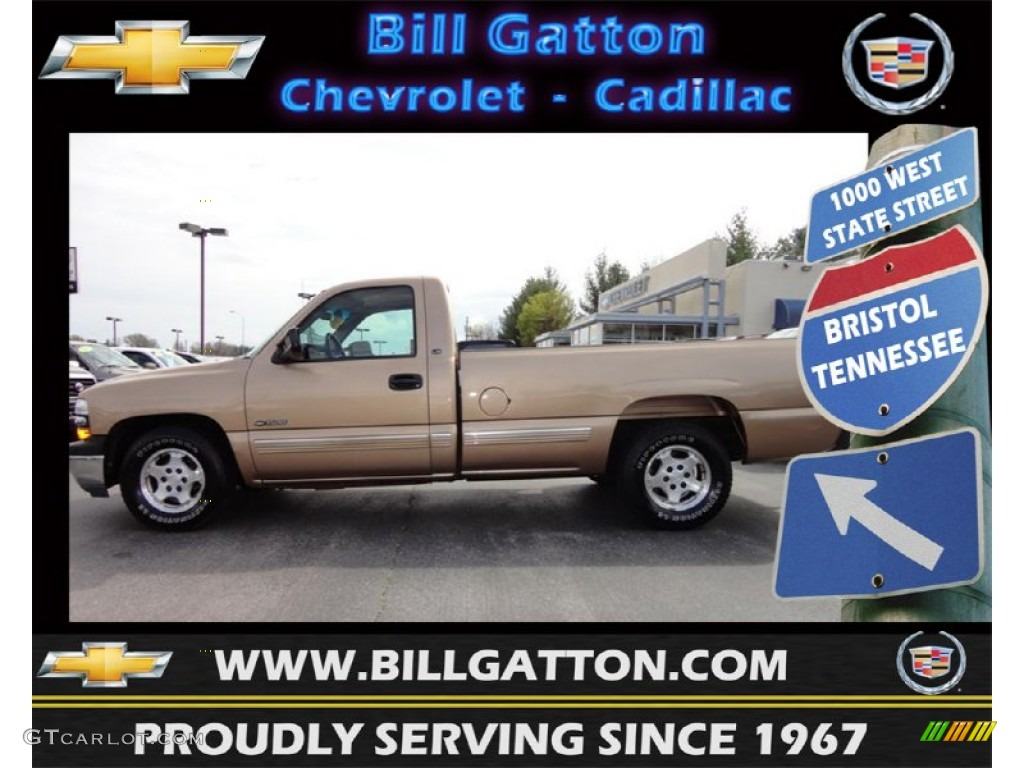 2000 Silverado 1500 LS Regular Cab - Sunset Gold Metallic / Medium Oak photo #1