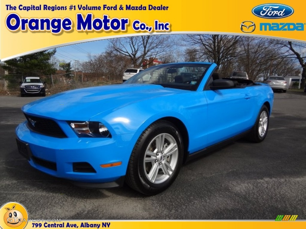 2011 Mustang V6 Convertible - Grabber Blue / Charcoal Black photo #1