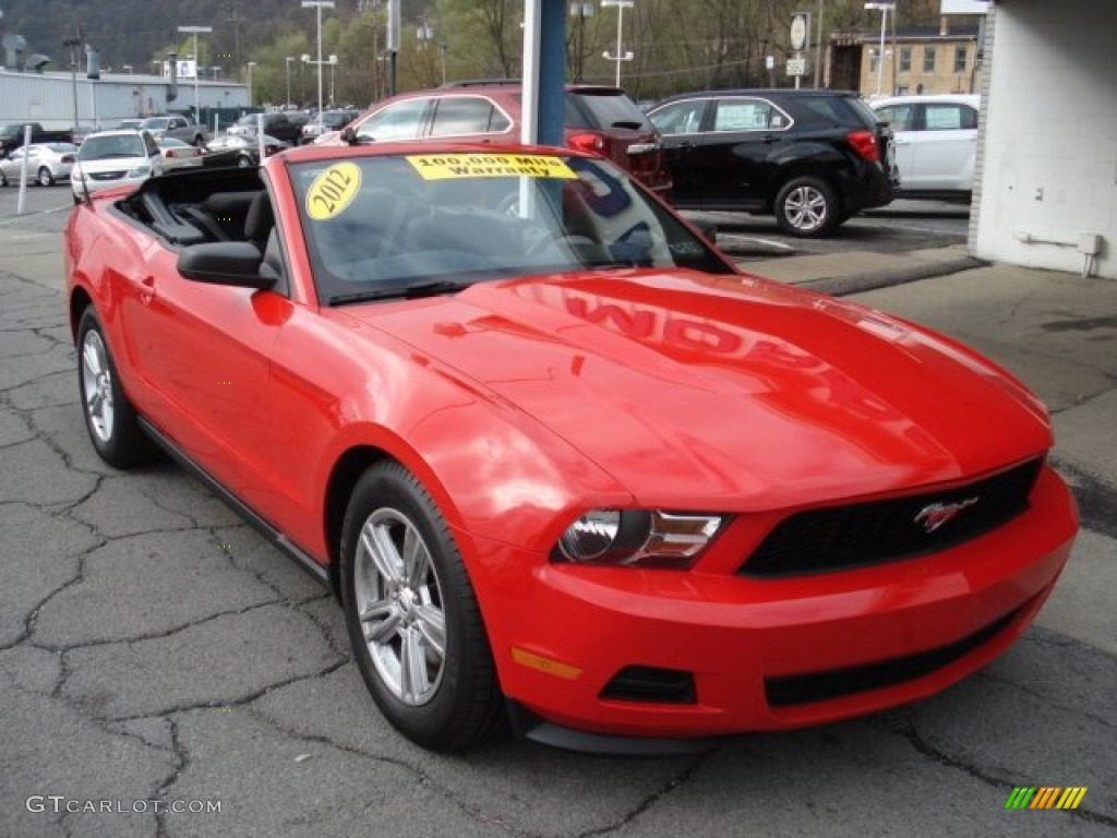 Race Red 2012 Ford Mustang V6 Convertible Exterior Photo