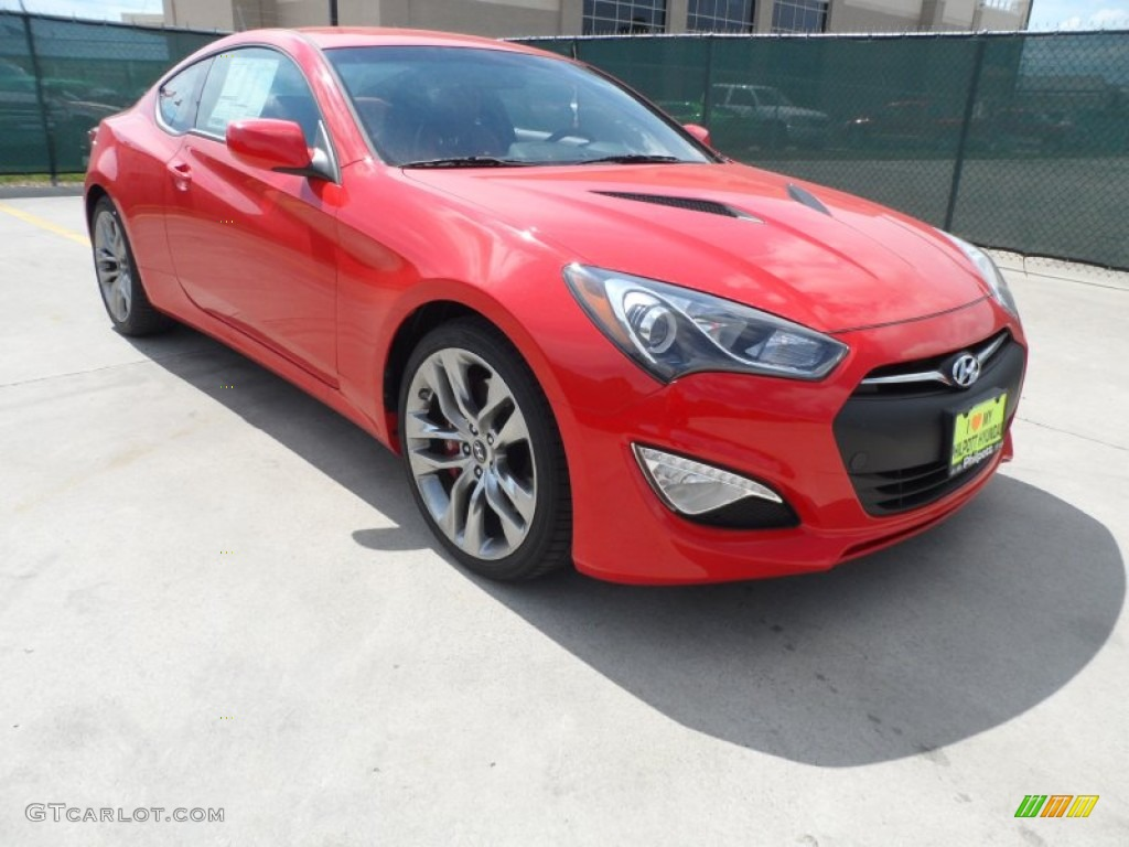 2013 Genesis Coupe 3.8 R-Spec - Tsukuba Red / Red Leather/Red Cloth photo #1
