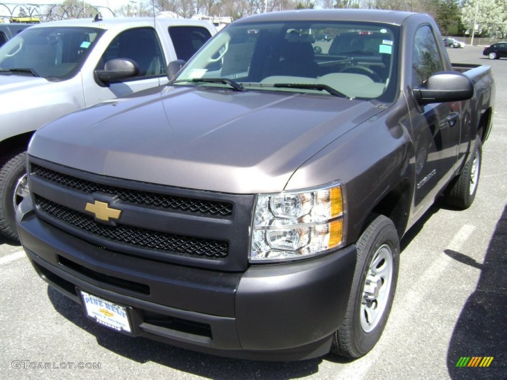 2012 Silverado 1500 Work Truck Regular Cab - Mocha Steel Metallic / Dark Titanium photo #1