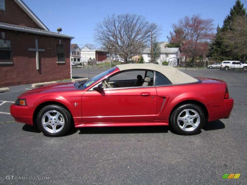 Laser red metallic 2002 ford mustang v6 convertible exterior photo