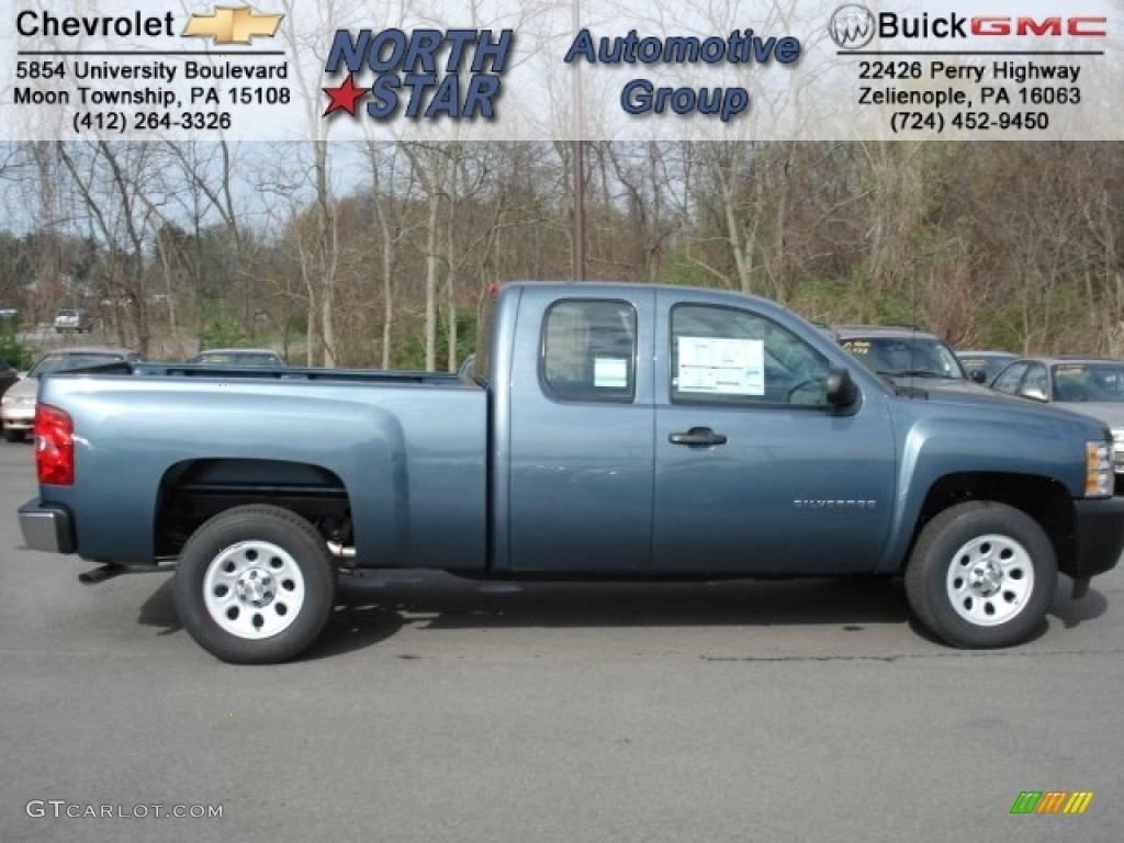 2012 Silverado 1500 Work Truck Extended Cab - Blue Granite Metallic / Dark Titanium photo #1