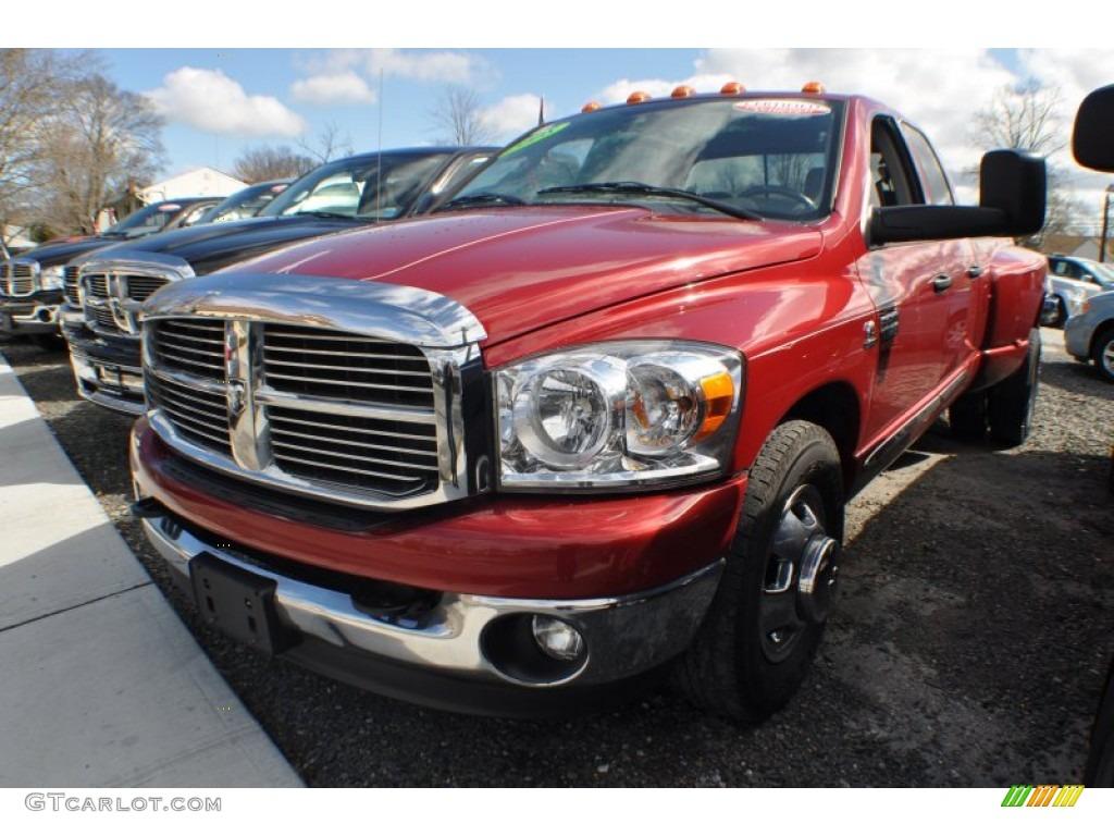 2008 Ram 3500 Big Horn Edition Quad Cab Dually - Inferno Red Crystal Pearl / Medium Slate Gray photo #1