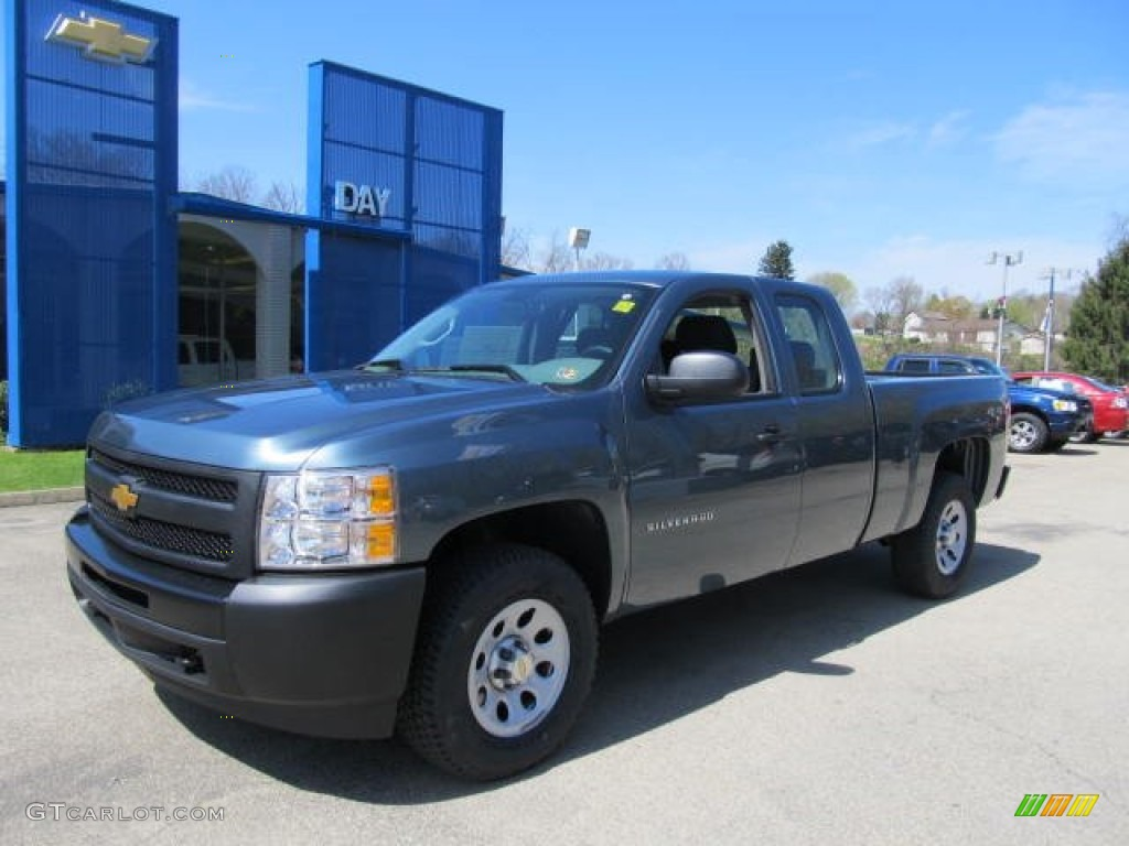 2012 Silverado 1500 Work Truck Extended Cab 4x4 - Blue Granite Metallic / Dark Titanium photo #1