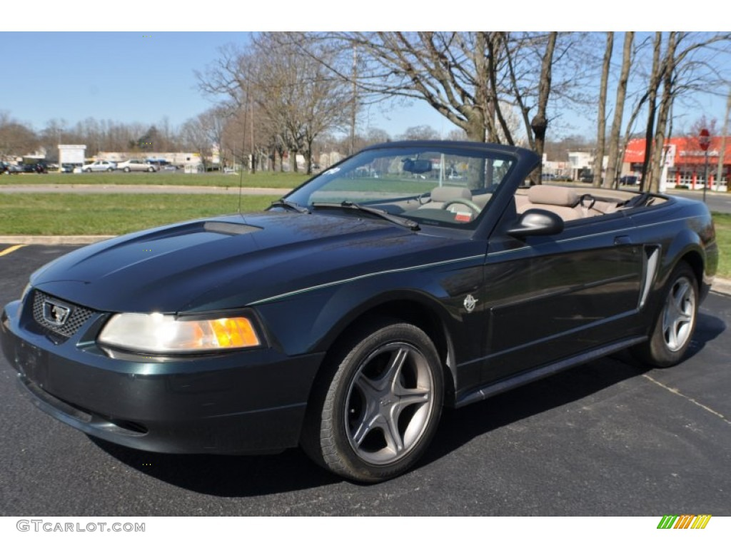 1999 dark green satin metallic ford mustang v6 convertible. Black Bedroom Furniture Sets. Home Design Ideas