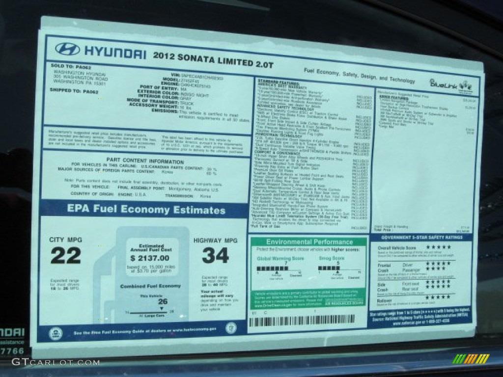 2012 Hyundai Sonata Limited 2 0t Window Sticker Photo 63298015 Gtcarlot Com